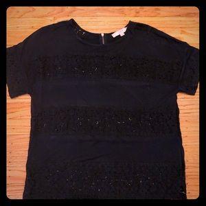 Loft lace navy tee shirt